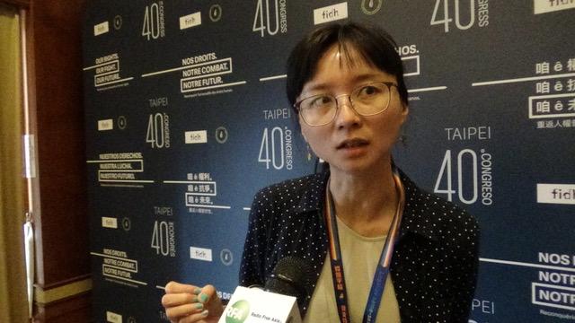 台湾人权促进会秘书长邱伊翎。(记者夏小华摄)