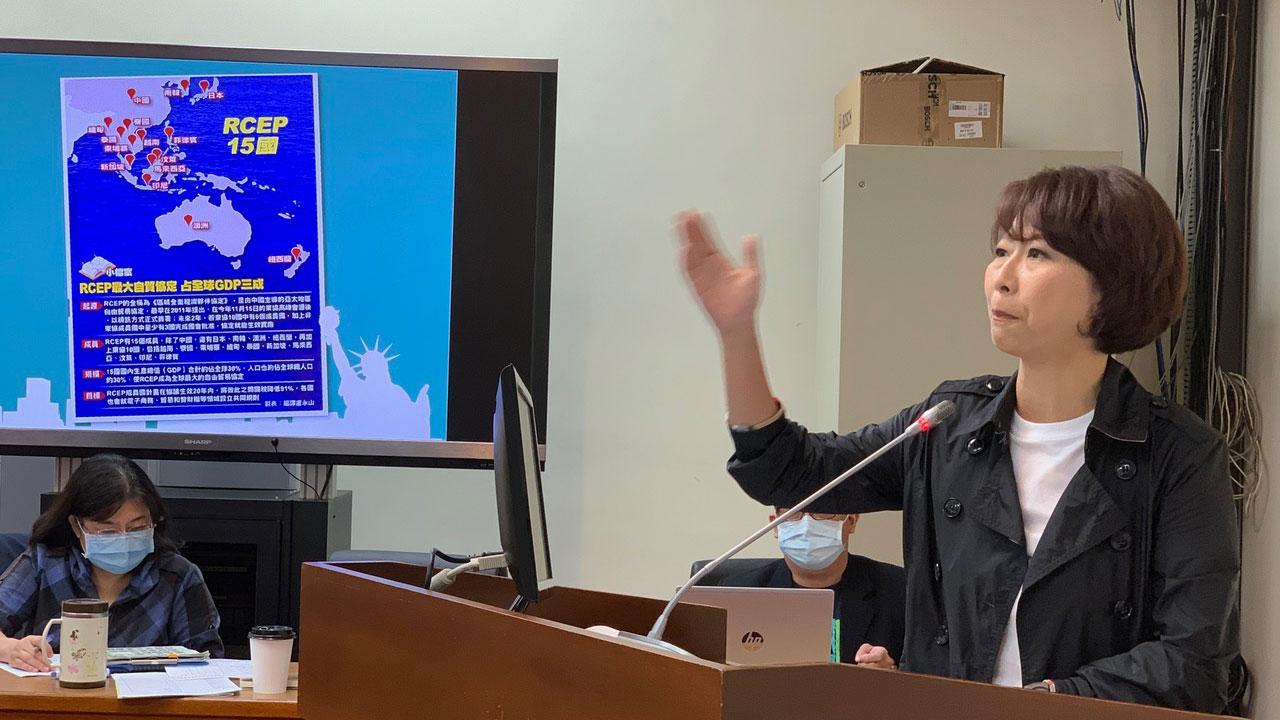 民进党籍立委陈亭妃16日质询经济部长王美花台湾经济受RCEP冲击的影响评估。(记者夏小华摄)