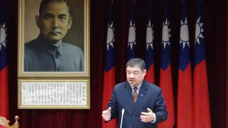 台湾立法院人权委员会副秘书长、前六四天安门学运领袖吾尔开希。(记者夏小华摄)