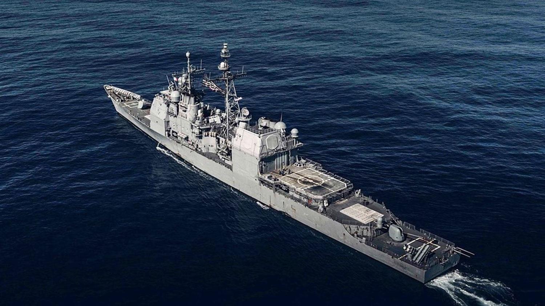 昌塞勒斯维号(图)15日进行一般演训时,由东海驶往南海。(示意图/图取自facebook.com/pg/USS.Chancellorsville)