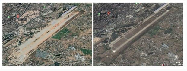 中共福建省惠安军用机场扩建前(右)与扩建中(左)。