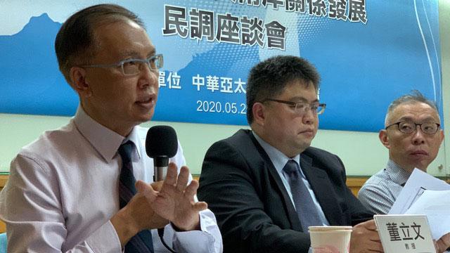 台湾智库谘询委员董立文。(记者夏小华摄)