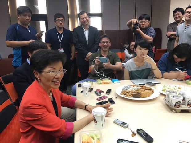 台湾的陆委会新任主委张小月一再强调,两岸持续保持沟通,对话维持现状。(黄春梅摄影)