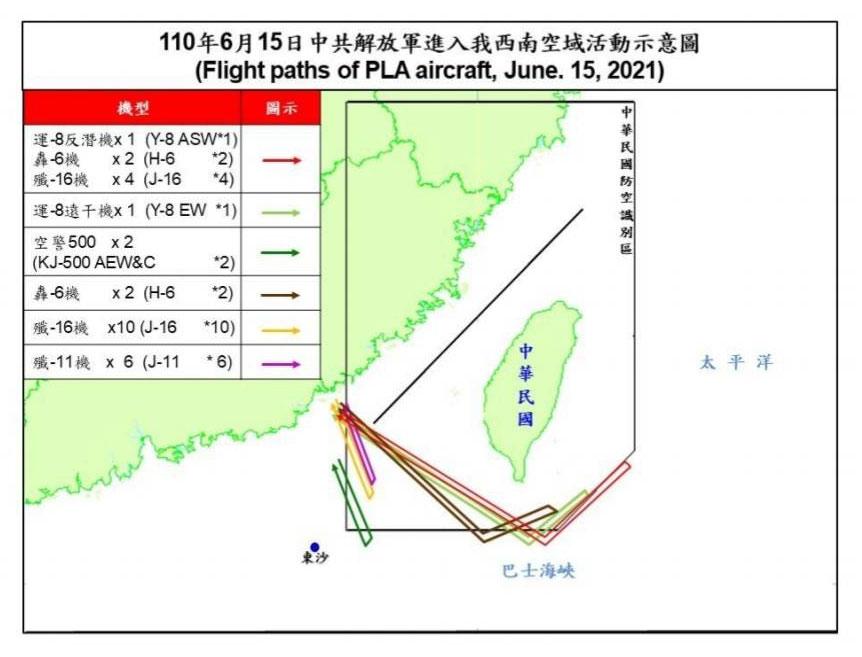 6月15日中国解放军机28架次扰台公开资料史上最大规模。(台湾国防部提供)