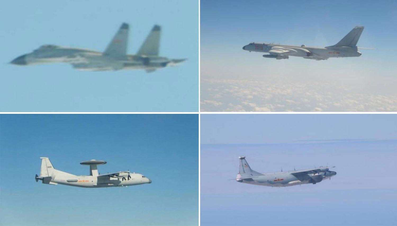 左上:中共歼-11机型。  右上:中共轰-6机型。  左下:中共空警500机型。  右下:中共运-8远干机型。(台湾国防部提供)