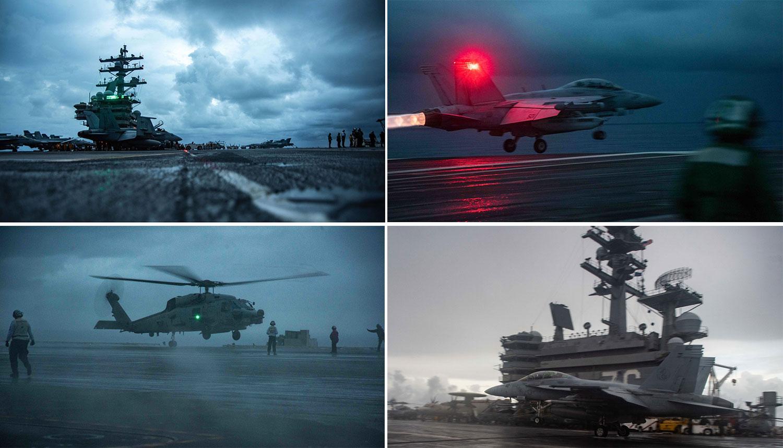 美国海军14日公布里根号在南海演训。(美国海军脸书)