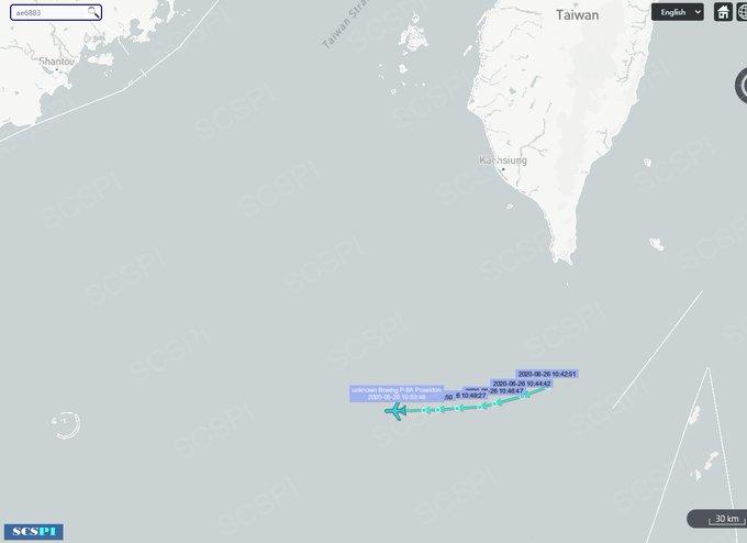 """中国北京大学海洋研究院""""南海战略态势感知计划""""推特平台(SCS Probing Initiative)显示美军动态。(SCSPI推特)"""
