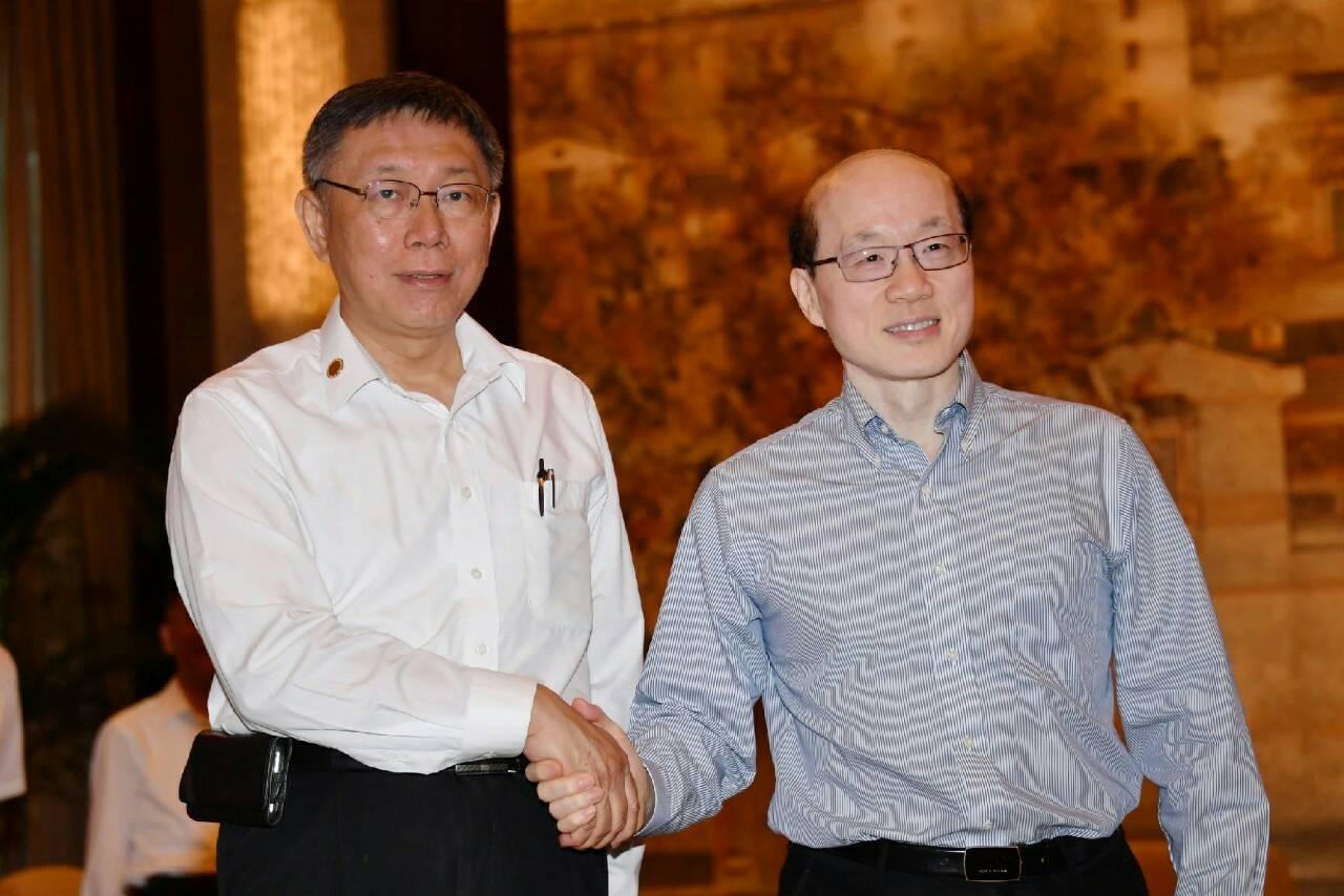 中国大陆国台办主任刘结一抵上海会见台北市长柯文哲。(台北市政府提供)