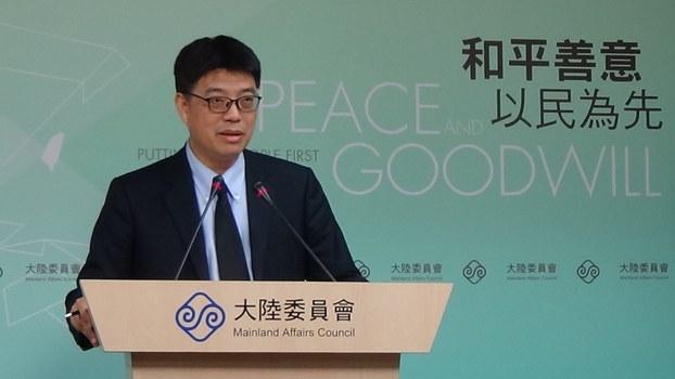 台湾陆委会发言人邱垂正。(记者夏小华摄)
