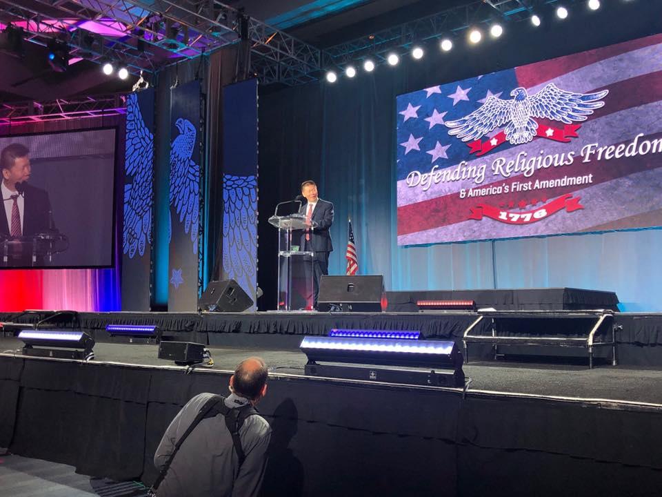 对华援助协会创办人傅希秋牧师14号出席在美国的宗教自由相关会议。(摘自傅希秋脸书)