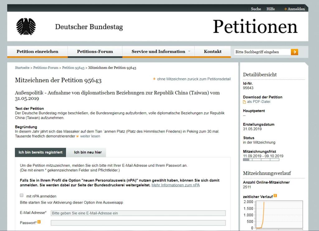 德国国会请愿案连署网站。(截自网路)