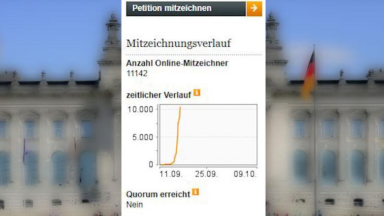 德国人提交国会德台建交提案连署破万。(截自网站)