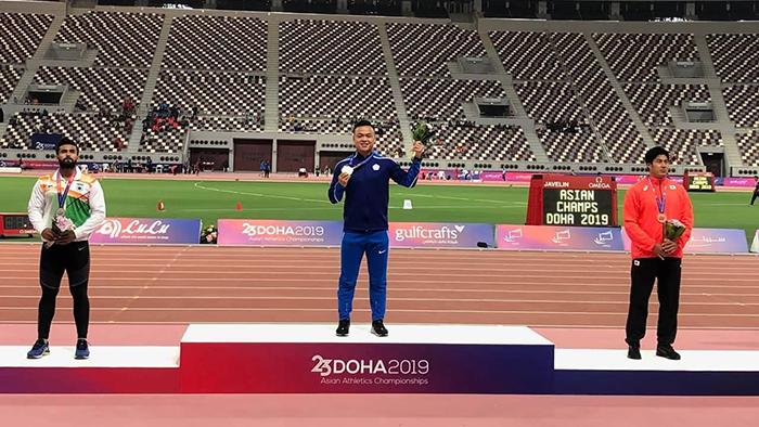 2019亚洲田径锦标赛,郑兆村成为第一名获得男子标枪金牌的台湾选手。(台湾的教育部体育署官网、田径协会提供)