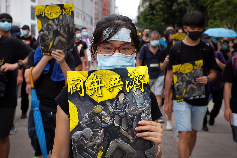 2019年8月11日,香港反送中游行示威。(美联社)