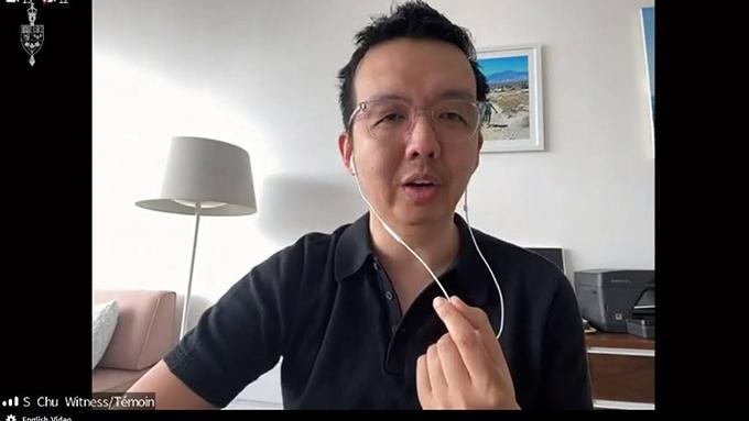 被香港当局通缉的美籍香港人朱牧民在加拿大国会听证会上发言  (视频截图)