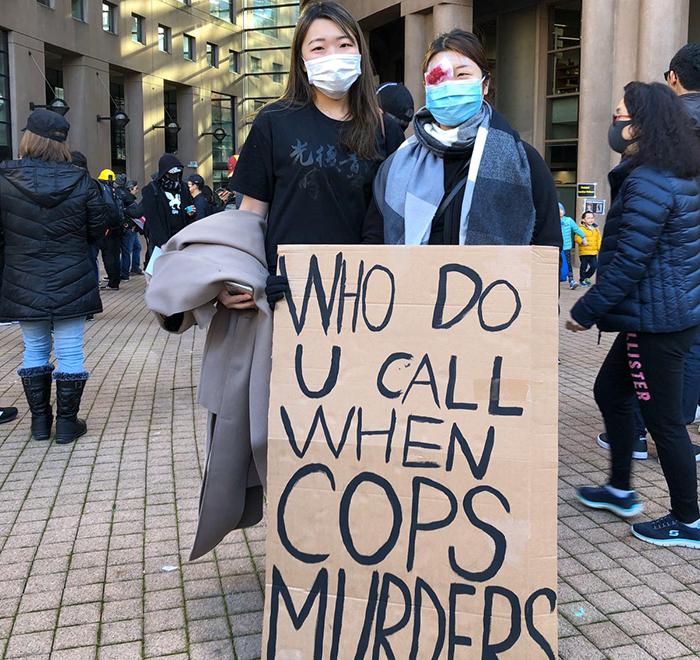 """温哥华""""112求援""""集会活动,抗议黑警滥权。 (卑诗省史维会提供)"""