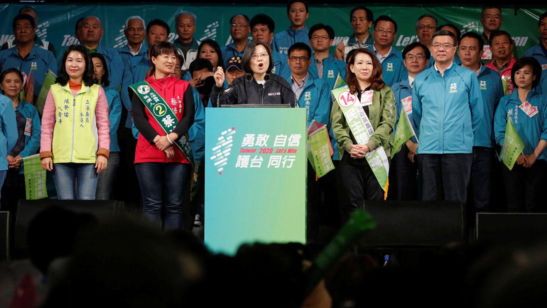 2020年1月7日,台湾总统蔡英文在彰化市竞选活动中。(路透社)
