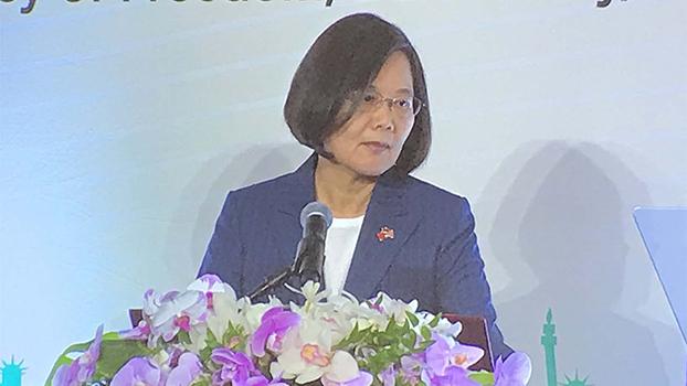 台湾的总统候选人蔡英文(记者王允摄影)