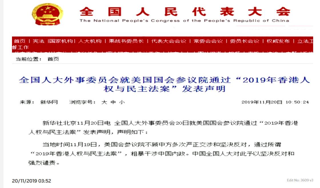 中国全国人大、就美国国会参议院通过《香港人权与民主法案》发表声明。(视频截图/路透社)