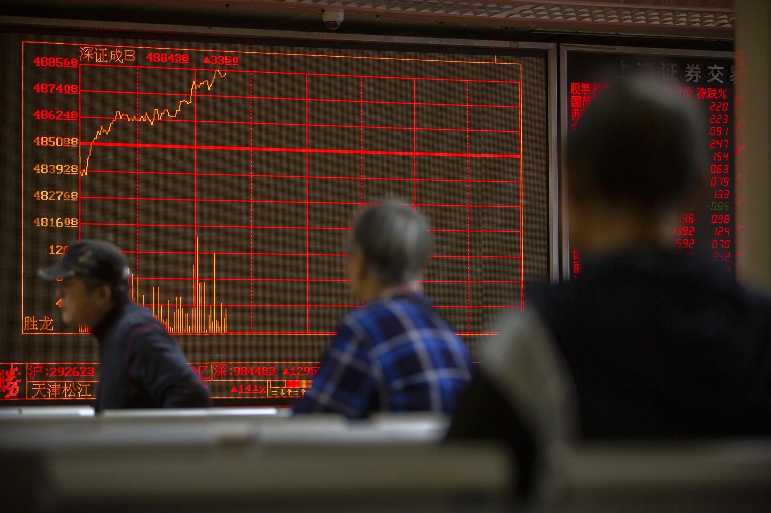由于签订美中首阶段贸易协议有可能推迟,中国和香港股市应声下跌,香港的恒生指数下跌了超过400点,大陆股市也连跌了两天。(美联社)