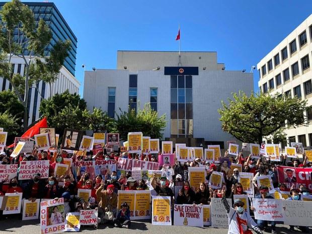 洛杉磯數百人集會  反對緬甸政變及其背後中國因素