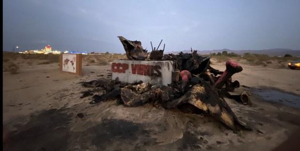 南加州自由雕塑公园再遇袭  中共病毒雕塑遭人纵火焚毁