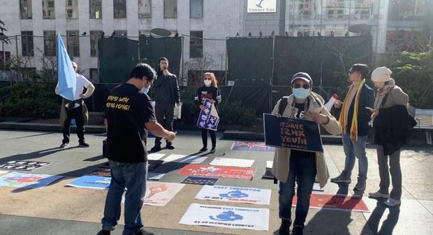2020年12月10日中午,维吾尔人、香港人、越南人团体在旧金山联合广场举行公开演讲活动,宣讲中国极权统治的危害。(photo:RFA)
