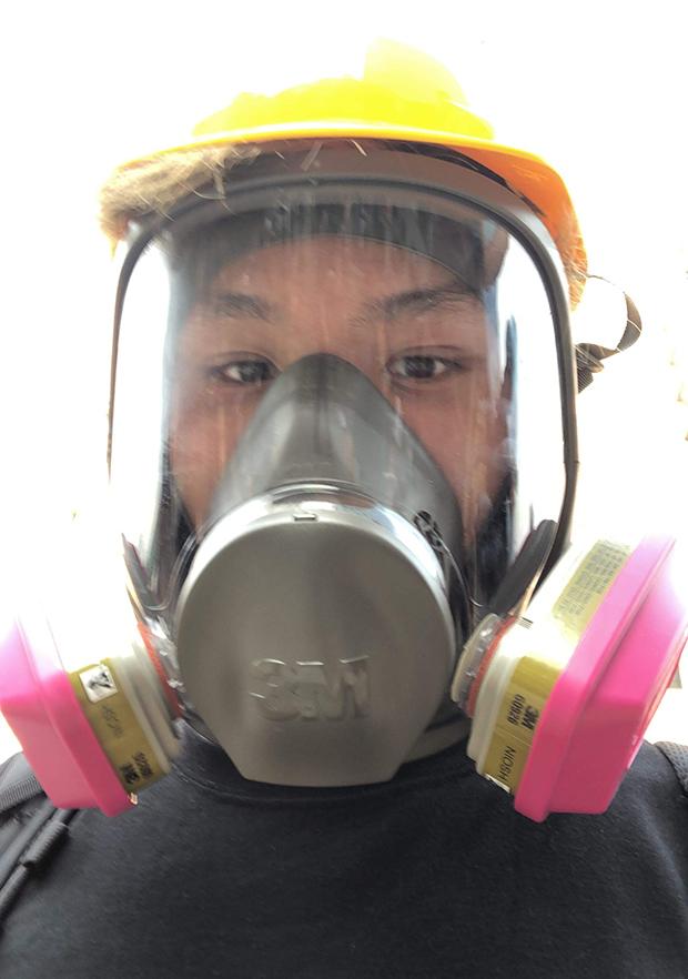 2019年8月24日,泰瑞·李在觀塘參加抗爭時的自拍。(泰瑞·李提供,獨家首發)