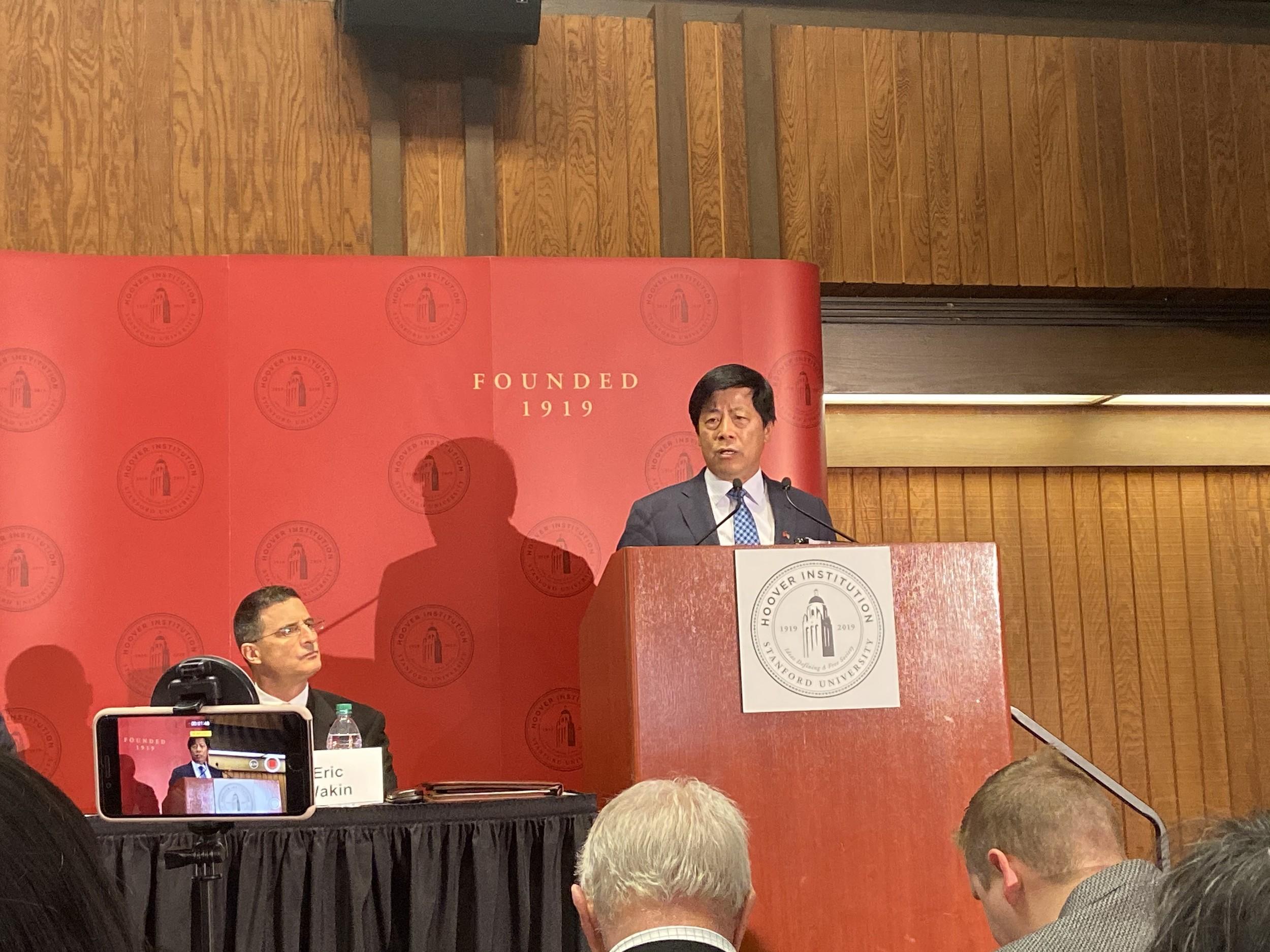旧金山台北经济文化办事处处长马钟麟出席会议表示支持和感谢。(王允摄影)