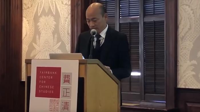 2019年4月11日,台湾高雄市长韩国瑜在美国波士顿哈佛大学发表闭门演讲(视频截图)