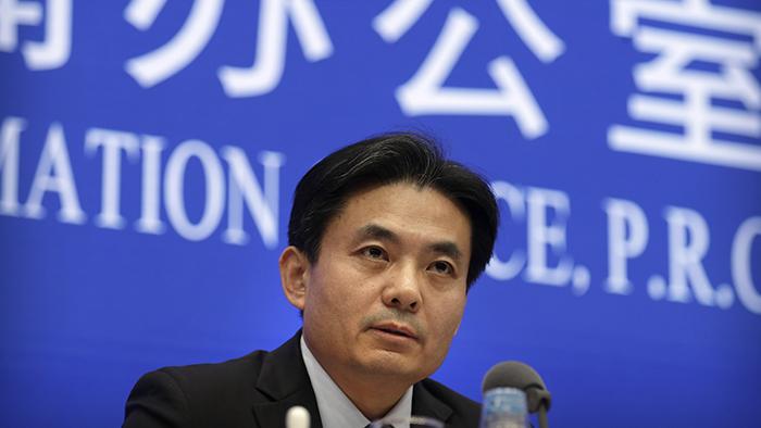 中国国务院港澳办发言人杨光2019年9月3日在记者会上讲话(美联社)