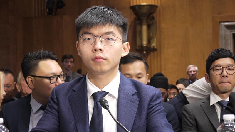 香港众志秘书长黄之锋2019年9月17日在美国国会作证,呼吁通过《香港人权及民主法案》。(记者郑崇生摄)
