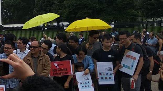 2019年6月9日,民主人士在白宫外示威反对香港逃犯条例。(参与者提供)