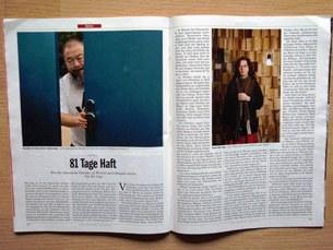 图片:德国《明镜周刊》八月八号发表流亡诗人贝岭先生关于艾未未被捕八十一天的揭露性的分析文章。(天溢摄)