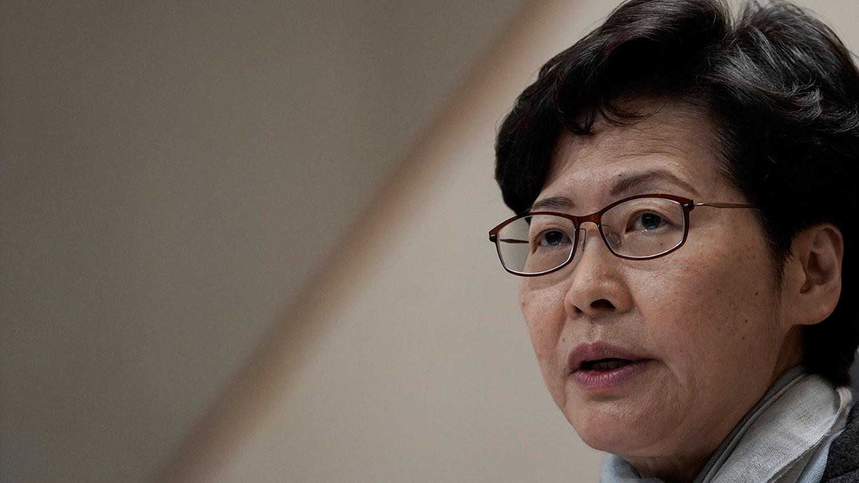 在2020年2月11日,香港行政长官林郑月娥在新闻发布会上发表讲话。(美联社)