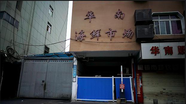 被认为最早发现新冠病毒的中国武汉华南海鲜市场(路透社资料图)