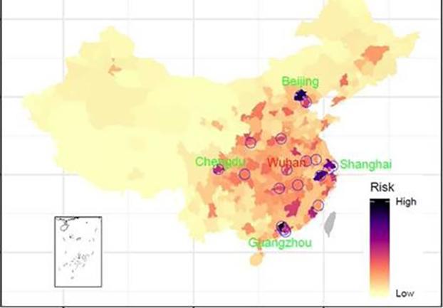 正月前4周人群从18个高风险城市(篮圈)流向其它地区并传播新型冠状病毒的风险. 来源:英国南安普顿大学世界人口工程(World Pop)主导的研究报告《武汉新型冠状病毒在中国和全球的传播风险的初步分析报告》(作者授权使用)
