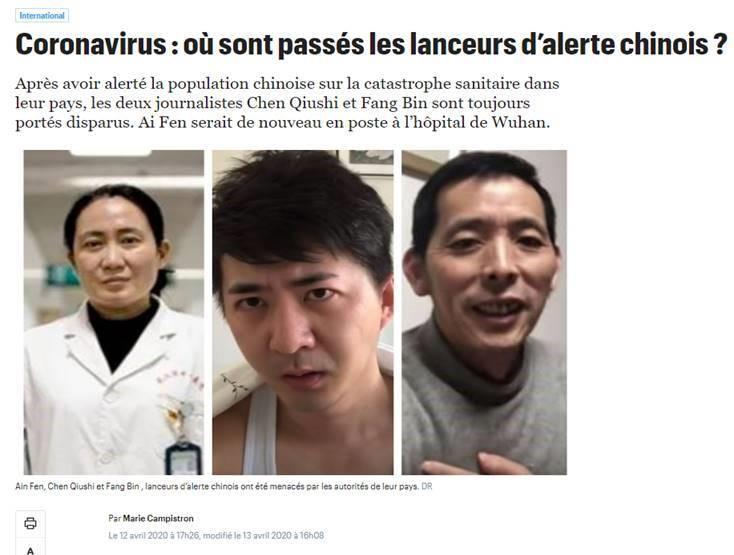 法国媒体《巴黎人报》4月12日刊文,质问陈秋实、方斌、艾芬等人现状。(网站截图)