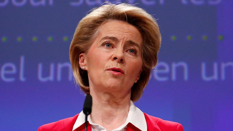 欧盟执委会主席范德莱恩(Ursula von der Leyen)1日晚首度针对台湾发文,感谢台湾捐赠560万片口罩,她表示,这种全球性病毒爆发需要国际团结与合作,她代表欧盟感谢台湾此时此刻以行动展现团结。(法新社图片)