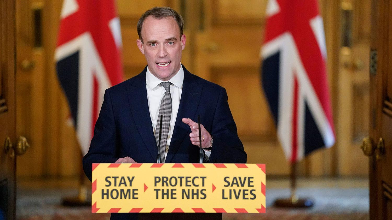 英国外交大臣拉布(Dominic Raab)16日更警告中国,疫情危机结束之后,必须回应国际社会关于病毒起源以及为何没有更早防范的尖锐问题。(美联社)