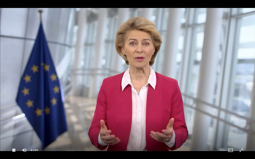 """欧洲联盟执行委员会(European Commission)主席范德莱恩(Ursula von der Leyen) 在世卫大会视讯会议上说,""""武汉肺炎病毒疫情全球大流行期间,国际就疫情展开合作,这应该是不用想也知道的事。""""(法新社图片)"""