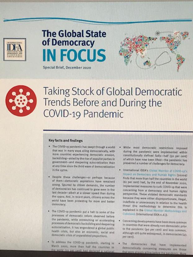 国际人权日前夕,国际非政府组织国际民主和选举援助学会(IDEA)发表报告指出,中国就是以违反人权或民主规则为代价有效防疫。(截图)