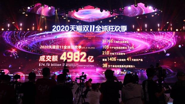 2020年中國雙十一購物節結束時屏幕顯示的天貓銷售總額(法新社)
