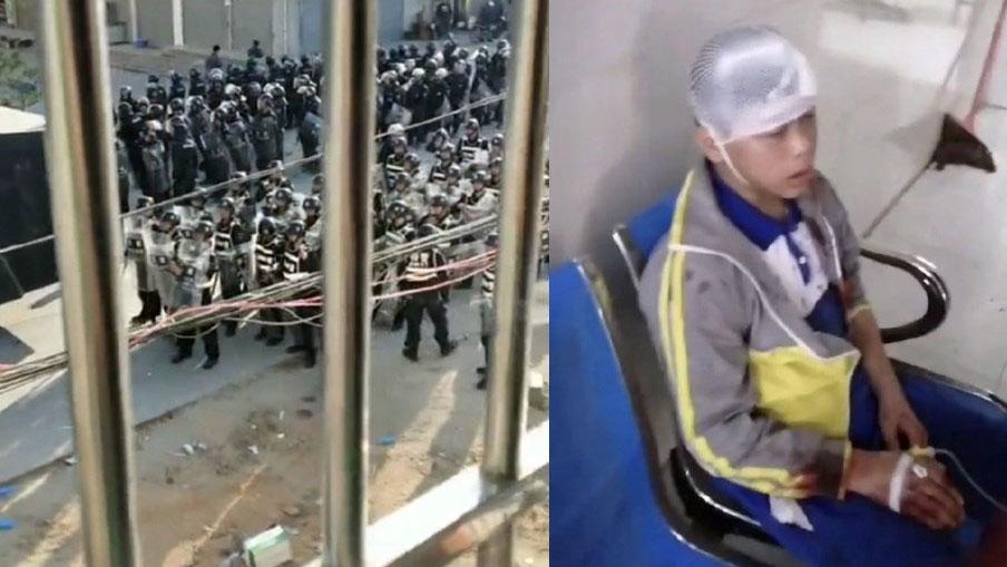 2019年11月28日,广东茂名化州市文楼镇居民抗议当局兴建火葬场,触发警民冲突。(网友微博图片)