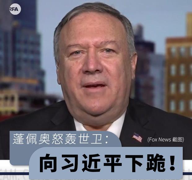 蓬佩奥怒轰世卫:向习近平下跪!(自由亚洲电台制图)(photo:RFA)