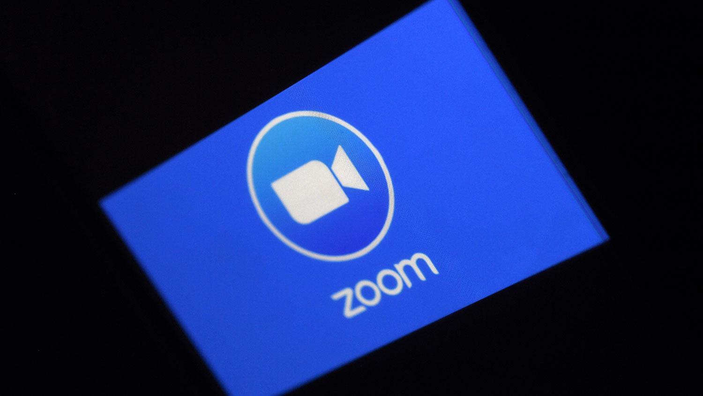 视频会议平台公司Zoom标志。(法新社)