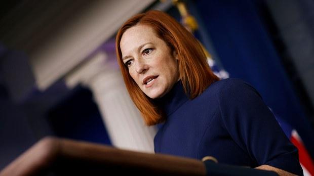 美国白宫发言人普萨基表示,美国政府期待对世界卫生组织周二发布有关武汉新冠病毒起源的结论和基础数据等进行仔细而独立的评估。(路透社)(photo:RFA)