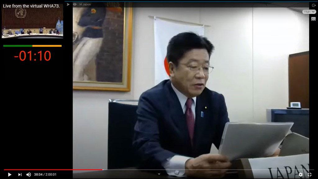 日本代表加藤胜信也提到台湾,但网路问题不断,发言受影响。(图取自World Health Organization (WHO) YouTube网页youtube.com)