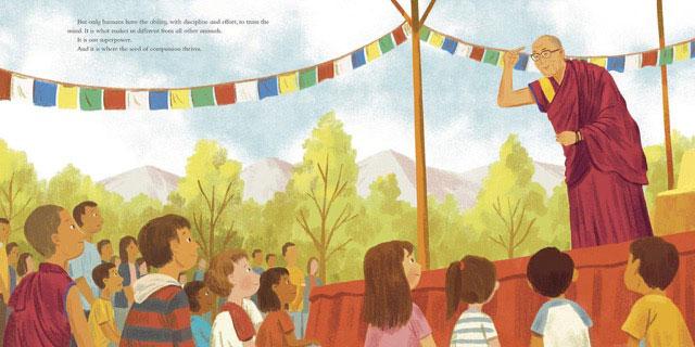 达赖喇嘛的儿童绘本《慈悲的种子》问世。(摘自网路)