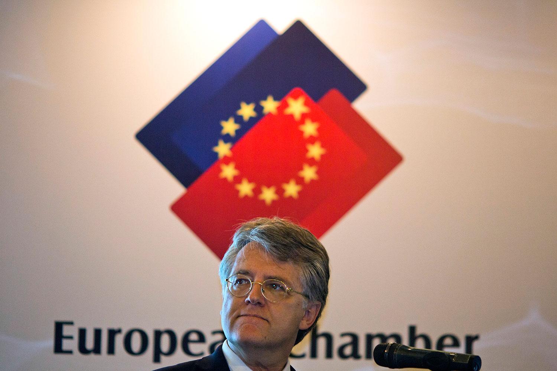 欧盟商会会长、德国巴斯夫集团中国区总裁伍德克。(美联社)